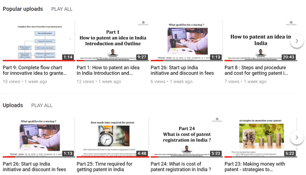 all videos on patent by Prasad Karhad